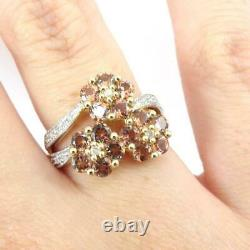 Andalusite Diamond Accent Flower Modernist 10K Yellow Gold Ring Size 7.5 LHI2