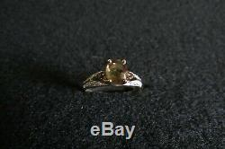 Andalusite and Diamond accents ring. 14K yellow gold. Size 9. New in ring box