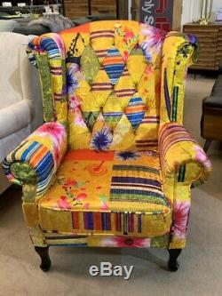 Anna Wings Fabric Gold Patchwork Chesterfield Avici Scroll Wingback Accent Chair