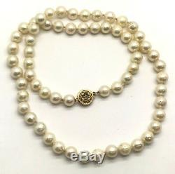Antique Clasp 14K Yellow Gold Diamond Accent Beaded White Pearl Necklace 18'