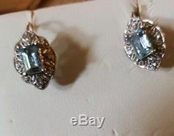 Aquamarine And Diamond Accent hook drop stud Earrings In 14kt White Gold