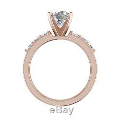 Asscher Accents 3.5 Carat VS1/F Round Cut Diamond Engagement Ring Rose Gold