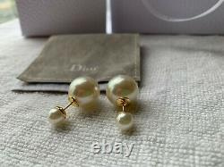 Authentic DIOR Tribales White Resin Bead Accents Gold Finish Drop Earrings