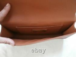 BNWOT Perrin Paris Camel Leather Clutch Bag with Gold Accent Carry Loop RRP $1200