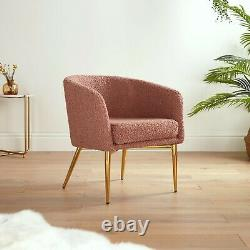 BTFY Pink Tub Chair Boucle Teddy Fluffy Accent Lounge Armchair with Gold Legs