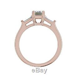 Baguette Accents 1.4 Ct SI1/F Emerald Cut Diamond Engagement Ring Rose Gold