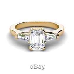 Baguette Accents 1.4 Ct VS2/F Emerald Cut Diamond Engagement Ring Yellow Gold