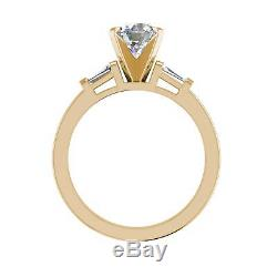 Baguette Accents 1.55 Carat SI1/F Round Cut Diamond Engagement Ring Yellow Gold