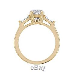 Baguette Accents 1.5 Ct VS1/H Pear Cut Diamond Engagement Ring Yellow Gold