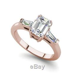 Baguette Accents 1.5 Ct VS2/H Emerald Cut Diamond Engagement Ring Rose Gold