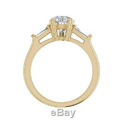 Baguette Accents 1.75 Ct VS1/F Pear Cut Diamond Engagement Ring Yellow Gold