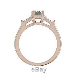 Baguette Accents 1 Ct VS1/F Emerald Cut Diamond Engagement Ring Rose Gold