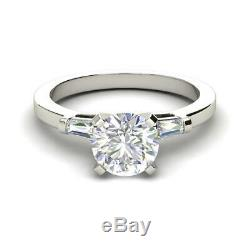 Baguette Accents 2.05 Carat VS2/F Round Cut Diamond Engagement Ring White Gold
