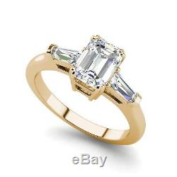 Baguette Accents 2.25 Ct VS1/F Emerald Cut Diamond Engagement Ring Yellow Gold