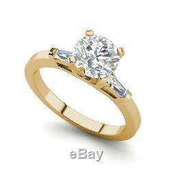 Baguette Accents 2.55 Carat SI1/F Round Cut Diamond Engagement Ring Yellow Gold