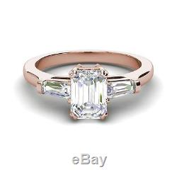 Baguette Accents 2.5 Ct SI1/D Emerald Cut Diamond Engagement Ring Rose Gold