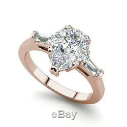 Baguette Accents 2.5 Ct VS1/D Pear Cut Diamond Engagement Ring Rose Gold