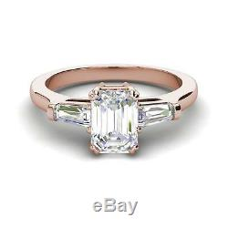 Baguette Accents 2.75 Ct SI1/F Emerald Cut Diamond Engagement Ring Rose Gold