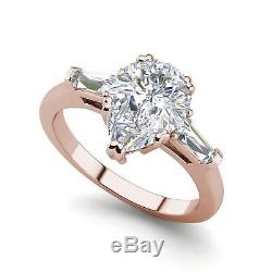 Baguette Accents 2 Ct VS2/F Pear Cut Diamond Engagement Ring Rose Gold