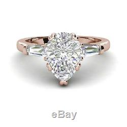 Baguette Accents 3.5 Ct VS1/F Pear Cut Diamond Engagement Ring Rose Gold