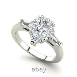 Baguette Accents 3 Ct SI1/F Pear Cut Diamond Engagement Ring White Gold