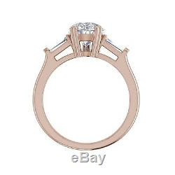 Baguette Accents 3 Ct VS2/F Pear Cut Diamond Engagement Ring Rose Gold