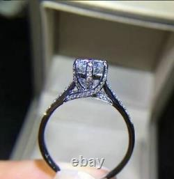 Beautiful Solitaire With Accents Wedding Ring 2 Ct Round Diamond 14K White Gold