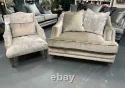 Belvedere accent armchair in crushed ivory velvet with contrasting cushion