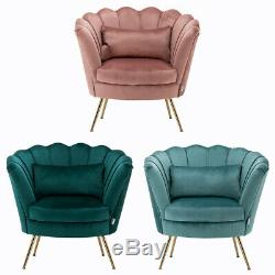 Blooming Flower Armchair Upholstered Tub Chair Room Accent Chairs with Gold Legs