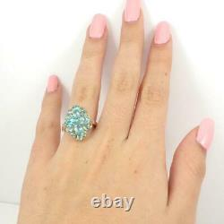 Blue Apatite Diamond Accent Cluster 10K Yellow Gold Ring Size 7.5 LHI2