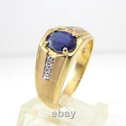 Blue Sapphire Diamond Accent Men's Band 14K Yellow Gold Ring Size 10.5 LHH2