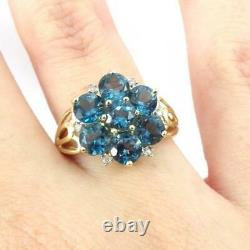 Blue Topaz Cluster Flower Diamond Accent 10K Yellow Gold Ring Size 9 LHL2