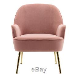 Blush Pink Velvet Occasional Accent Armchair Wing Back Tub Chair Gold Metal Leg