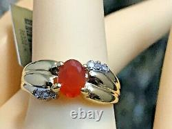 Brand-new 10k Gold Natural Padparadscha Sapphire & Accent Ring 3.16gr+ Ring Box