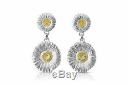 Buccellati Blossoms Daisy Drop Earrings, Sterling Silver, Gold Accents
