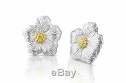 Buccellati Blossoms Gardenia Button Earrings, Sterling Silver with Gold Accent