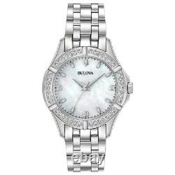 Bulova Women Silver Tone Watch with Diamonds Accent Mother of Pearl Dial 96R233