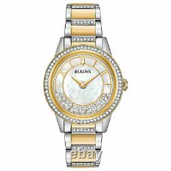 Bulova Women's 98L245 TurnStyle Crystal Accent Two-Tone 32.5mm Watch MSRP $550