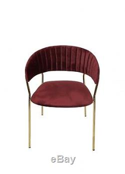 Burgundy Red Velvet Fabric Dining Accent Arm Chair Brass Metal Legs Gold Wine