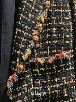 CHANEL FANTASY TWEED BLACK JACKET WITH GOLD ACCENTS BEADS EMBELLISHED NEW Fr 38
