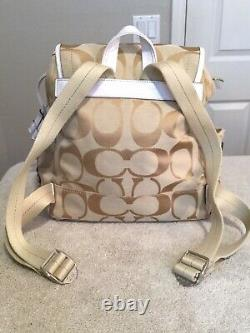 COACH Daisy Gold On Beige WithWhite Accents Signature Backpack. 12x12x5. NEW