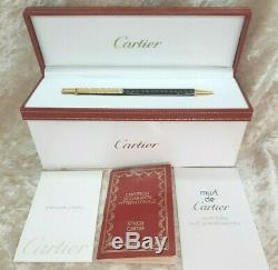 Cartier Ballpoint Pen must II 2 Black x Gold Plated Accents with Box &Papers