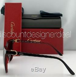 Cartier Cateye Sunglasses CT0004S 005 Black Frame Warm Gray Lens Gold Accents 55