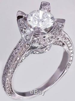 Certified 1.95ct Round White Diamond 14k White Gold Solitaire With Accent Ring