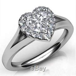 Certified 2.75Ct White Heart Solitaire with Accents Wedding Ring 14k White Gold