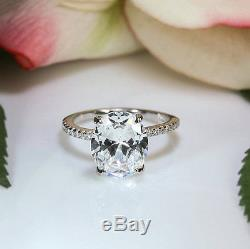 Certified 4.1Ct Oval White Diamond 14K White Gold Solitaire Accents Wedding Ring