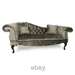 Chesterfield Buttoned Crushed Velvet Tufted Sofa Chaise Lounge Accent Arm Chair
