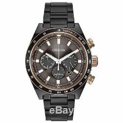 Citizen Eco-Drive Men's CA4207-53H Chronograph Rise Gold Accents Grey 42mm Watch