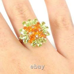 Citrine Chrome Diopside Diamond Accent Flower 10K Yellow Gold Ring Size 7.5 LHI2