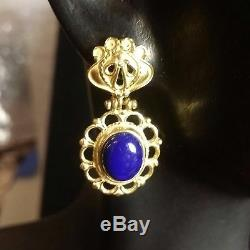 Classic Beauty 18K Solid Gold Accents Blue Lapis Dangle Earrings Made In ITALY